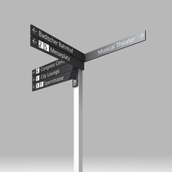 Signage System Messe Basel by BURRI – Signposts for outdoor areas | Media displays | BURRI