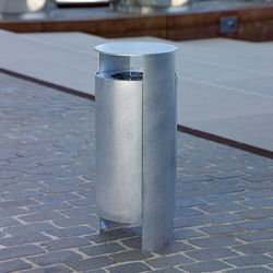 Versio orbis Litter bin, galvanized, 40 L incl. ashtray | Waste baskets | Westeifel Werke