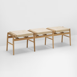 Leather triple stool | Bancs d'attente | H Furniture