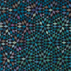 Triangles Diamond medallion blue-green | Formatteppiche / Designerteppiche | GOLRAN 1898