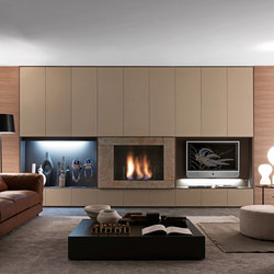 Pari & Dispari Arrangements with fireplaces | AV cabinets | Presotto