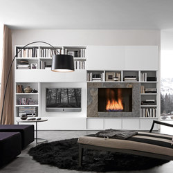 Pari & Dispari Arrangements with fireplaces | Wall storage systems | Presotto