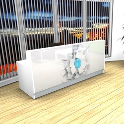 White Linea reception desk with graphic | Banques d'accueil | MDD