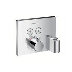 Hansgrohe ShowerSelect, Set esterno termostatico ad incasso per 2 utenze con FixFit e Porter integrato | Rubinetteria doccia | Hansgrohe