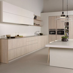 Serie 45 dica blanco polar lino natural olmo - Cocinas color roble ...