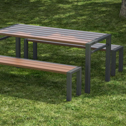 Basic table and backless bench | Benches with tables | Concept Urbain