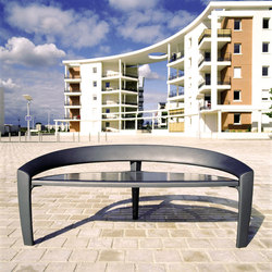 Nastra metal low backless bench | Exterior benches | Concept Urbain
