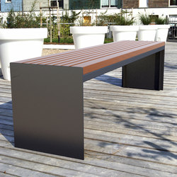 Soha wooden backless bench | Außenbänke | Concept Urbain
