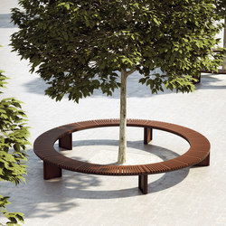 Soha wooden backless bench curved | Exterior benches | Concept Urbain