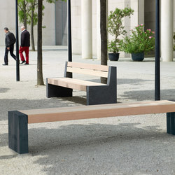 Versio levis stoolbench with slats MEDIUM and concret feet graphit