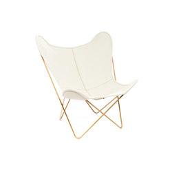 Hardoy Butterfly Chair Neck-Leder Elfenbein Gold | Sillones lounge | Manufakturplus