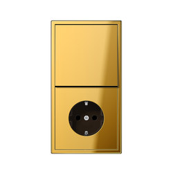 LS 990 gold coloured switch-socket | Combinación interruptor / enchufe (Schuko) | JUNG