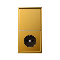 LS 990 gold 24 carat switch-socket | Combinación interruptor / enchufe (Schuko) | JUNG