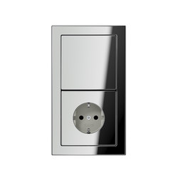LS-design chrome switch-socket | Combinación interruptor / enchufe (Schuko) | JUNG