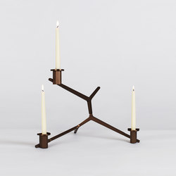 Agnes candelabra table 3 candles bronze | Portacandele | Roll & Hill
