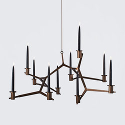 Agnes candelabra hanging 10 candles bronze | Ceiling suspended chandeliers | Roll & Hill
