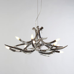 Superordinate Antlers chandelier 6 antlers chrome | Ceiling suspended chandeliers | Roll & Hill