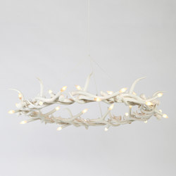 Superordinate Antlers chandelier 27 antlers ring white | Ceiling suspended chandeliers | Roll & Hill