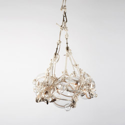 Knotty Bubbles Chandelier - 1 Lg, 6 Sm Bubbles (Natural/Clear) | Lámparas de suspensión | Roll & Hill