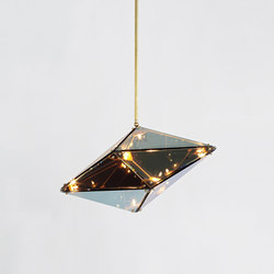Maxhedron 24 inches - Horizontal (Brushed brass/Transparent mirror) | Lámparas de suspensión | Roll & Hill