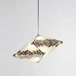 Maxhedron horizontal 42 inches tessellated mirror | Suspended lights | Roll & Hill
