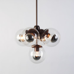 Modo Pendant - 5 Globes (Bronze/Clear) | Suspended lights | Roll & Hill