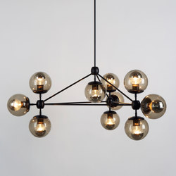 Modo chandelier 10 globes black smoke | General lighting | Roll & Hill