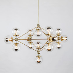 Modo chandelier 15 globes brass clear | Iluminación general | Roll & Hill