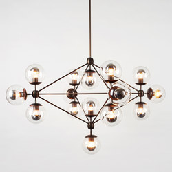 Modo chandelier 15 globes bronze clear | General lighting | Roll & Hill
