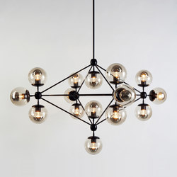 Modo chandelier 15 globes black smoke | Suspended lights | Roll & Hill