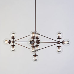 Modo Chandelier - Diamond, 13 Globes (Bronze/Clear) | Lámparas de suspensión | Roll & Hill