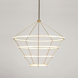 Halo Chandelier - 4 Rings (Brushed brass) | Lampade sospensione | Roll & Hill