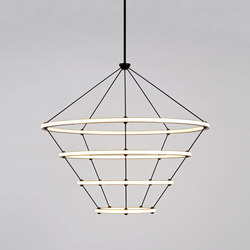 Halo chandelier 4 rings black | Suspended lights | Roll & Hill