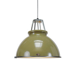 Titan Size 3 Pendant Light, Olive Green with Etched Glass | Allgemeinbeleuchtung | Original BTC Limited