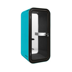 Framery O | turquoise with black laminate birch plywood door and frame | Cabinas telefónicas | Framery