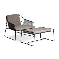 Sandur Club Chair Full Woven | Sandur Foot Stool | Gartensessel | Oasiq
