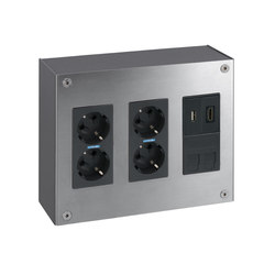 Simon 500 Cima | Aluminium Surface Wall Box | Schuko sockets | Simon