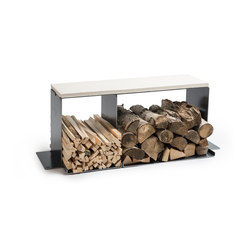 wineTee® wood log holder L | bench | Fireplace accessories | lebenszubehoer by stef's