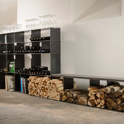 wineTee® wood log holder | Faszination in Stahl | Shelving | lebenszubehoer by stef's