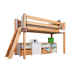 medium Loft bed with shelves | Letti infanzia | De Breuyn