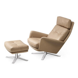 Model 1550 Glen High Back and stool | Lounge chairs with footstools | Intertime