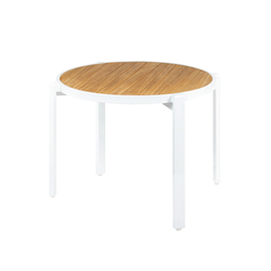 Allux stackable dining table Ø 120 cm (abstract slats) | Dining tables | Mamagreen