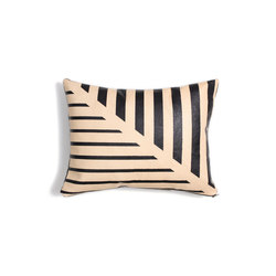 Black Lines Leather Pillow - 12x16 | Coussins | AVO