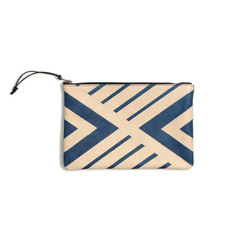 Blue Geometric Leather Clutch - 11x7.5 | Sacs | AVO