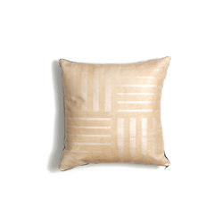 Pearl Crosshatch Leather Pillow - 18x18 | Cushions | AVO