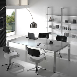 Concepto Free | Cromo | Cristal Blanco | Meeting room tables | Ofifran