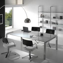 Mesas de reuniones-Conferencia-reunión-Concepto Free cromo cristal blanco-Ofifran