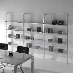 Concepto Free | Cromo | Cristal Blanco | Office shelving systems | Ofifran