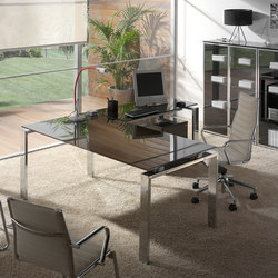 Concepto Free | Cromo | Cristal Marron | Executive desks | Ofifran