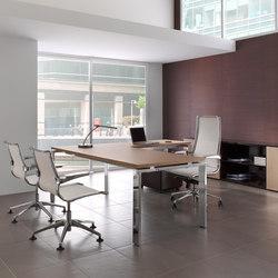 Escritorios individuales-Sillas direccionales-Mesas de oficina-Concepto Free nogal cromo-Ofifran
